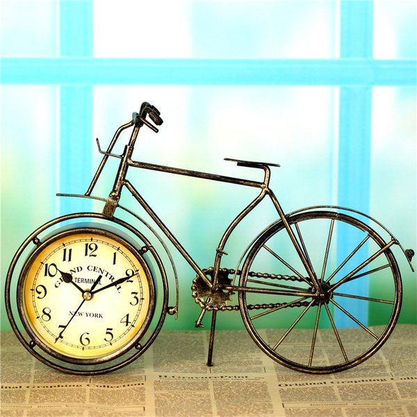 European pastoral style bronze bicycle table clock antique desk and shelf clock bicycle imitation crafts home decoration
