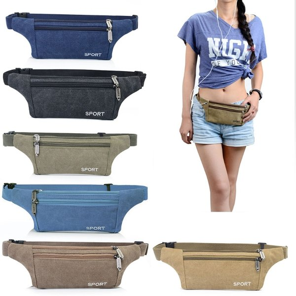 New 1Pc Fashion Men's Canvas Waist Pack Bag Pouch Belt Travel Hip Zipper Pocket