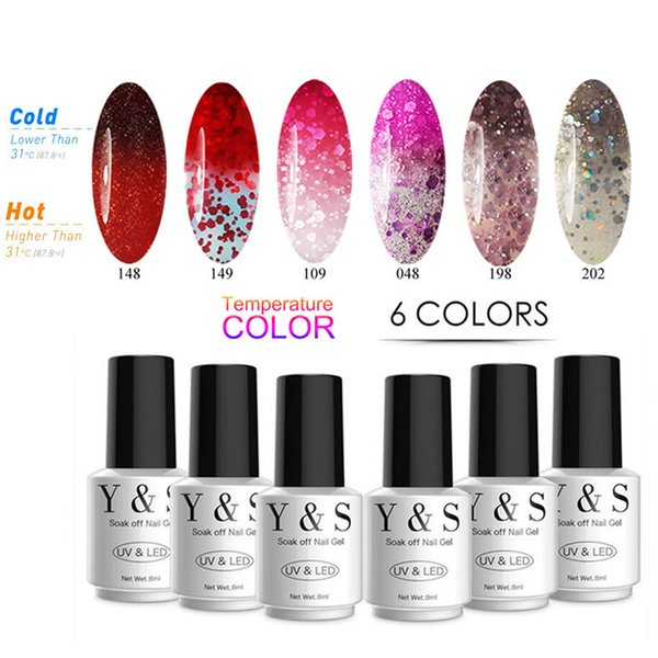 Y&S Change Color Nail Gel Polish Set 205 Colors 8ml 6pcs Gel Varnish Set 21 Days Last Fast Dry(45s) Mood Temperature Thermal Gel