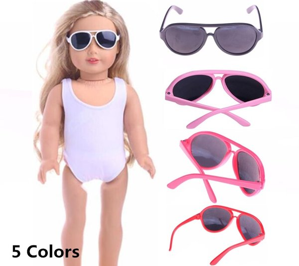 Wholesale-Doll Accessories 5 Colors Round-Shaped Round Glasses Sunglasses Suitable For 18 Inch American Girl Doll Free Shipping