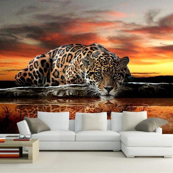 Sfondo personalizzato autoadesiva impermeabile della tela di canapa Arte Moderna 3D Leopard Foto murale pittura murale Soggiorno Murales Camera a muro