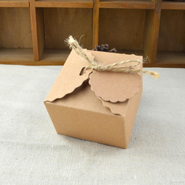 Kraft Paper Candy Box Retro Wave Shape Square Cookies Boxes DIY Brown Gift Package Organizer New Pattern 0 35wj B