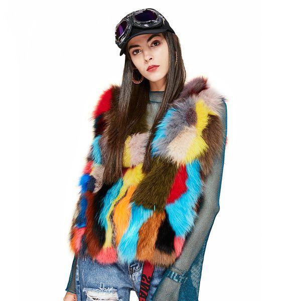 New 2018 Winter high Fashion street Women's Luxurious Real Fox fur vest multicolors patchwork fur mini Jackets outwear