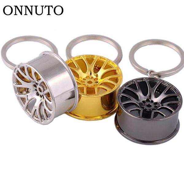 Cool Luxury Metal Creative Keychain Wheel Rim Model Key Chain Car Personality Keyring Wheel Hub Key Chains Rings S2740