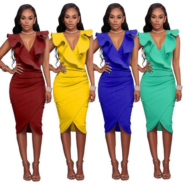 2018 Novo Design de Verão Ocasional Bainha Vestidos Ruffled Pescoço Mulheres Work Office Bodycon Vestido Curto Africano Prom Party Vestidos FS3490