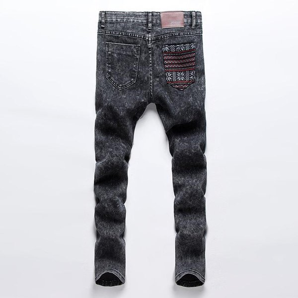 Wholesale-Skinny Jeans Men Slim Fitness Solid Casual Feet Harem Style Denim Pant 2016 Fashion Hip Hop Men Grey Elastic Long Trousers z5