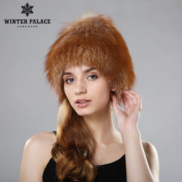 donne cappelli di pelliccia di inverno genuini cappelli di pelliccia di volpe a maglia berretti di volpe d'argento femminile russo bomer tappi formato libero