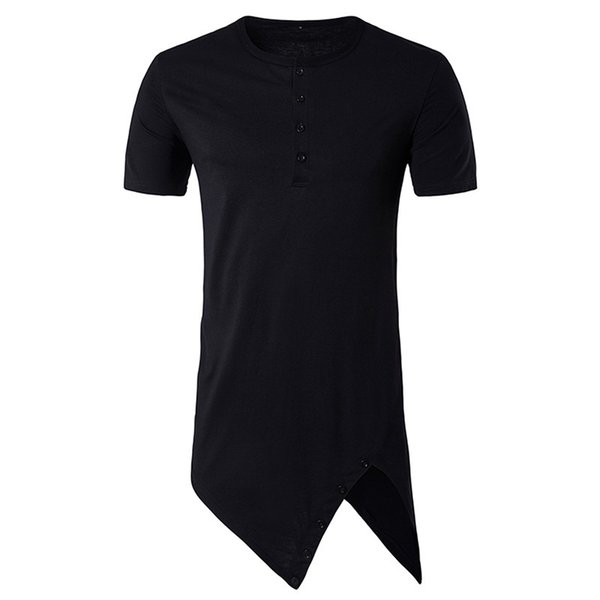 2018 hollowed new men's high street hip hop fashion round collar, pure color tide personality low swing short sleeved T - shirt