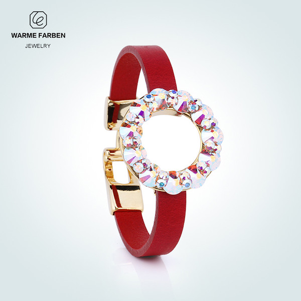 WARME FARBEN Crystal from Swarovski Bangle for Women Round Ring Colorful Crystal Design Leather Chain Bracelet Birthday GiftY1882803