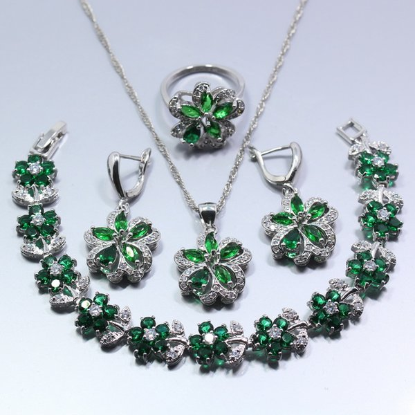 West Style Green Created Emerald 925 Silver Women 4PCS Jewelry Set Earrings Ring Necklace Pendant Bracelet Gift Box
