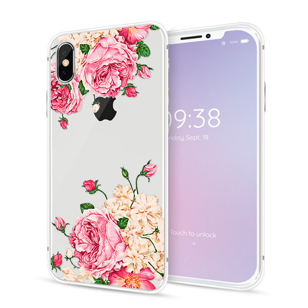 eebb0932784 2018 flor de la moda impresión caja del teléfono de la pintura suave TPU  Gel transparente