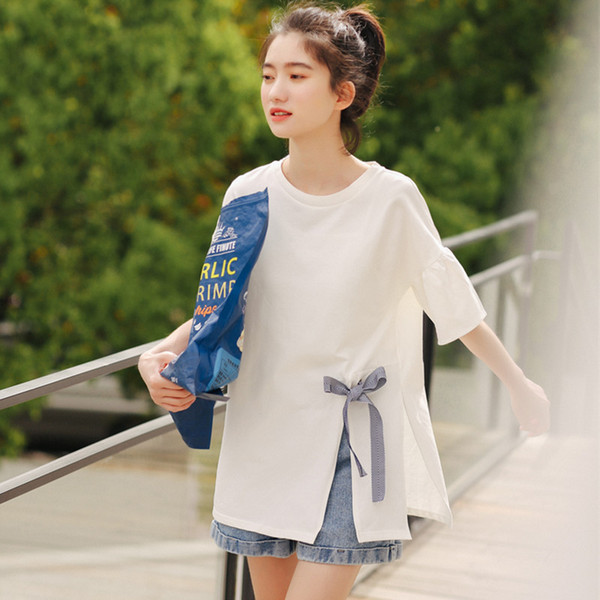 Women's T-shirts Tops Japanese Kawaii Ladies Ulzzang Solid Color Bow Tie Strap T Shirt Female Korean Harajuku Clothes For Women
