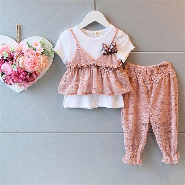 AiLe Кролик девушки комплект одежды лето новый корейский кружева жилет WhiteT рубашка цветет брюки лук 4 PCE Детская одежда костюм k1