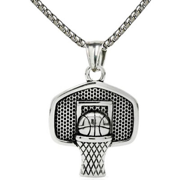 2018 Newest Fashion Hiphop Style Men Basketball Necklace Pendant Glod Basketball And Basketball Box Board Hoop Necklace