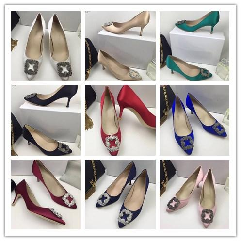Women Rhinestone Square Buckle Sexy Poined Toe Ladies Pumps 6.5cm Fashion High Heels Wedding Party Dress Shoes