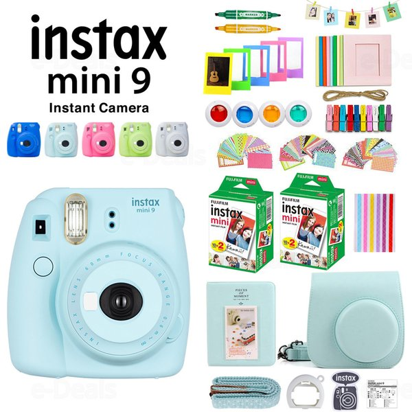 Fujifilm Instax Mini 9 Camera+40 Sheets Mini 9 Instant White Film Photo Paper+PU Case+Album+Color Filter+Close up Lens+Gift Set