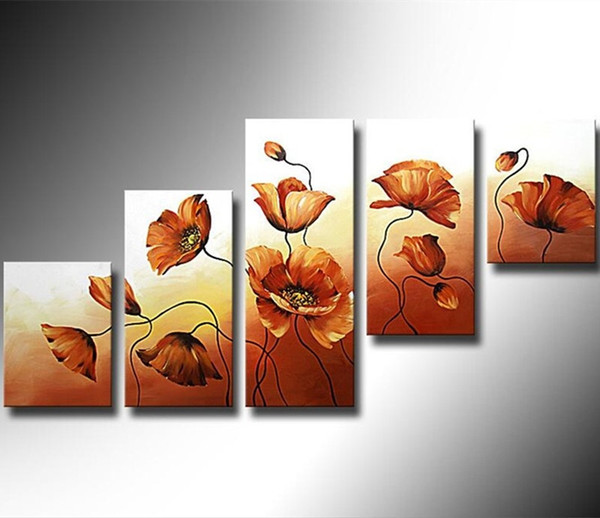 Handmade Gold Floral Paintings 5 Panel Pictures Home Decor Wall Art Hand painted Abstract Flower Oil Painting on Canvas