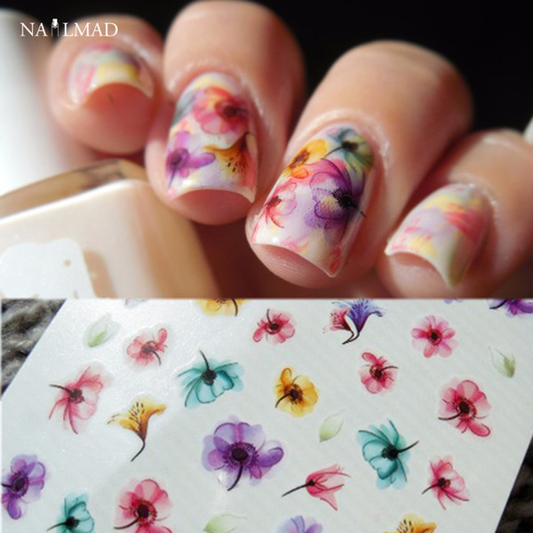 1 feuille Gradient Nail Eau Stickers Autocollants De Transfert Coloré Pourpre Fantacy Fleurs Nail Art Autocollant De Tatouage Stickers DS255