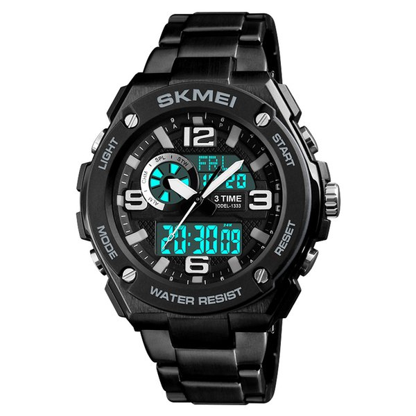 skmei 1333 new men outdoor sport watches men 50m waterproof stainless steel chronograph 3 times digital watch man wristwatches, Slivery;brown