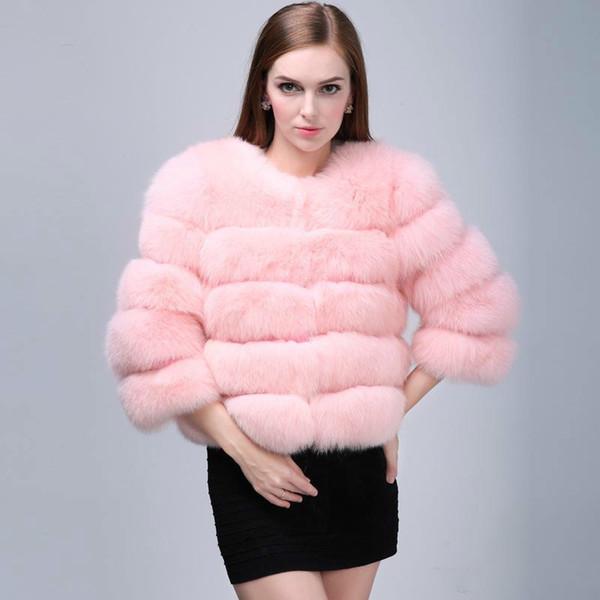 Inverno Casaco De Pele De Raposa Casaco De Pele Das Senhoras Petite Outwear Peacoat Outwear Em Torno Do Pescoço Manga Comprida Casacos Para As Mulheres Trench Coats Curto Outwear Quente