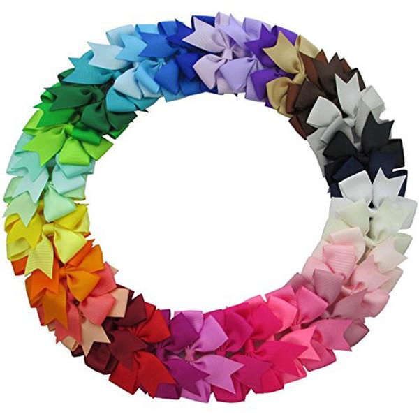 40Pcs 3'' Grosgrain Ribbon Pinwheel Boutique Hair Bows Clips For Baby Girls Teens Toddlers Kids Children