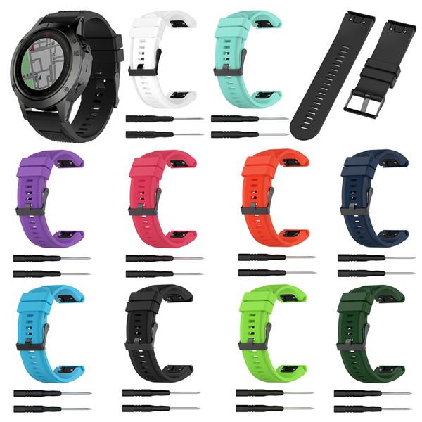 Dragonne en silicone YUEDAER 10Colors pour dragonne Garmin Fenix 5X 3 3HR GPS Quick Release pour accessoire Garmin Fenix 5x
