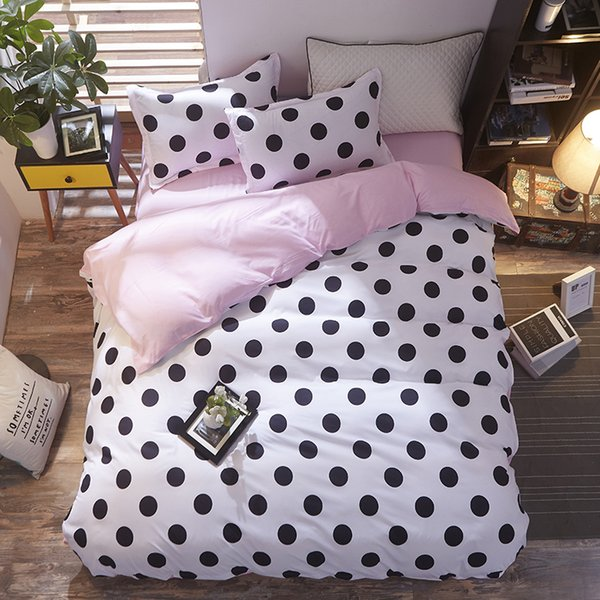 Fashion White black dots Creativity style 4pcs/3pcs Bedding Sets Soft Polyester Bed Linen Duvet Cover Bed Sheet Pillowcase