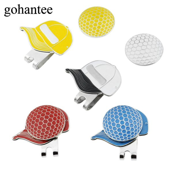 gohantee 1Pc Cap Shape Magnetic Golf Ball Markers With Golf Hat Visor Clips Hat Mark Design Decoration Accessories