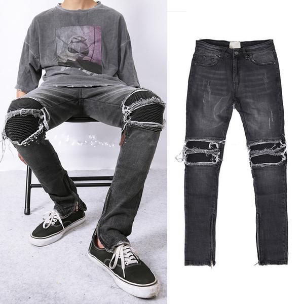2018 Latest hip hop justin bieber Side zipper men Jeans kanye west star motorcycle stretch skinny distressed ripped biker jeans