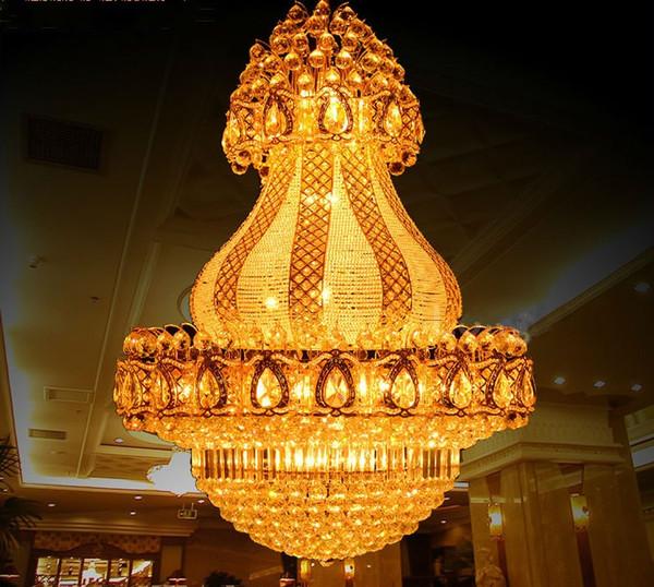 New Luxury Large K9 Gold Crystal Chandelier Lustre Led Modern Chandelier Lighting Living Room Lobby Hotel Engineering Lamps LLFA