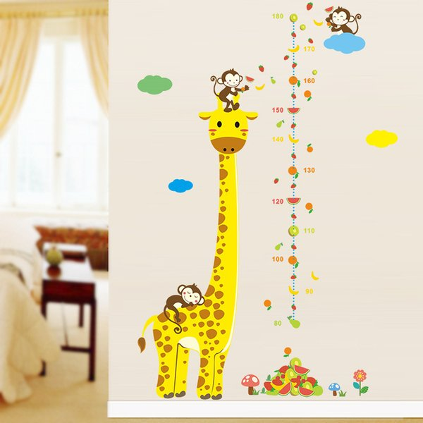 Decoração de casa Cartazes Adesivos Girafa Dos Desenhos Animados Altura Medida Adesivos de Parede Para Quartos de Crianças Altura Gráfico Régua Decalques de Parede Decoração de Casa