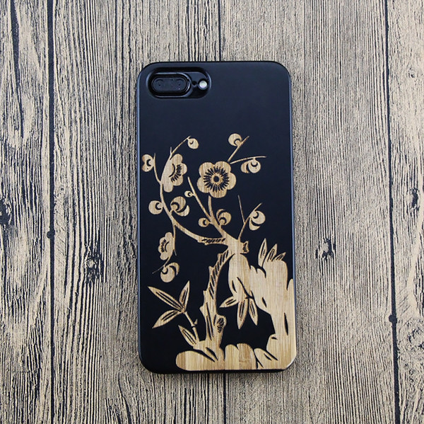 Black Flower Pattern Design Hard Bamboo Wooden Cell Phone Case For iPhone 6 7 8 X 6Plus 7Plus XS Max