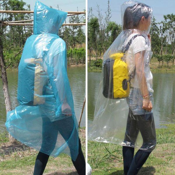 Equipamento de Viagem Essencial Adultos de Emergência Capa de Chuva Descartável Ao Ar Livre Caminhadas Camping PE Transparente Casaco De Chuva Poncho