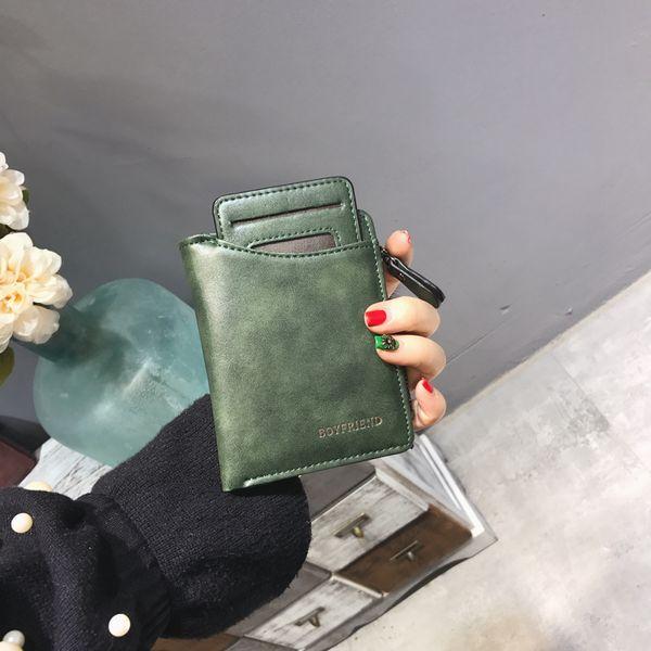Portafoglio donna Portafoglio corto vintage Cerniera femminile Carteira Feminina in pelle corta Portefeuille con porta carte rimovibile