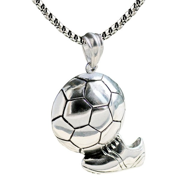 Sport Football Pendant Necklace Mens 316L Stainless Steel Chain Ball Soccer Necklace Punk Sports Unisex Sports Team Jewelry 2018