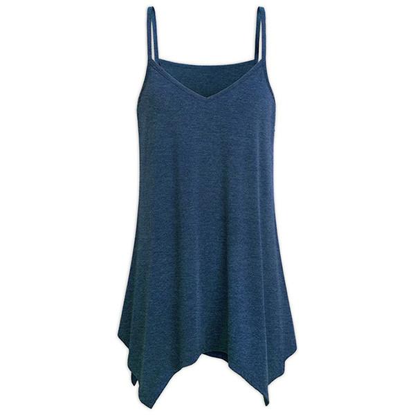 New Fashion Large Size Loose Sexy V-collar Irregular Hem Halter Shirt Plus Size S-5XL MV66