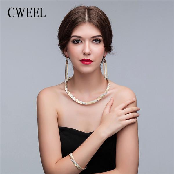 CWEEL Jewelry Sets Fashion Women African Jewelry Set Nigerian Wedding Jewellery Set For Brides Christmas Dubai Sets