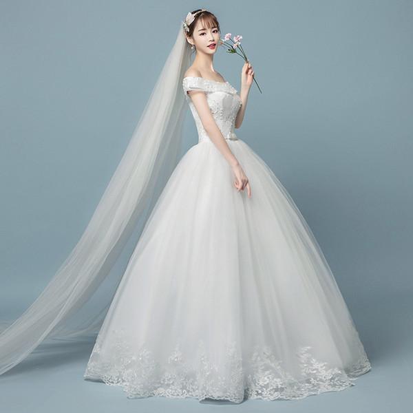 Factory Outlet Hot Sale Women Lace Wedding Dress A line Bateau Emboridery Flower Garden Wedding Tulle Ball Gown Dresses floor length W54