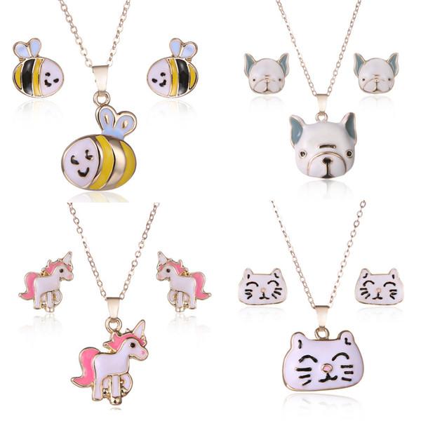 4 Farben heißes Geld Modell schönes Tier Halskette Schmuck-Mode einfache Bienen Einhorn Kätzchen Schmuck Großhandel