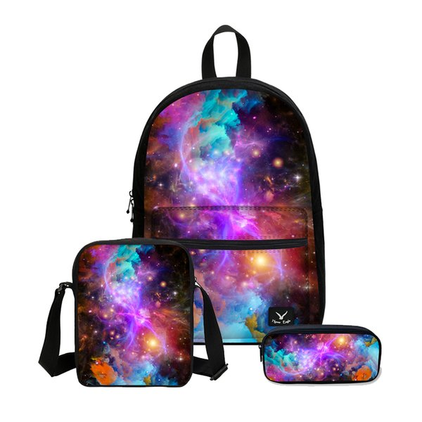 VEEVANV Women Fashion Galaxy Printing Backpacks Canvas Combination 3PCS/SET Bookbag Teenager School Shoulder Bags Laptop