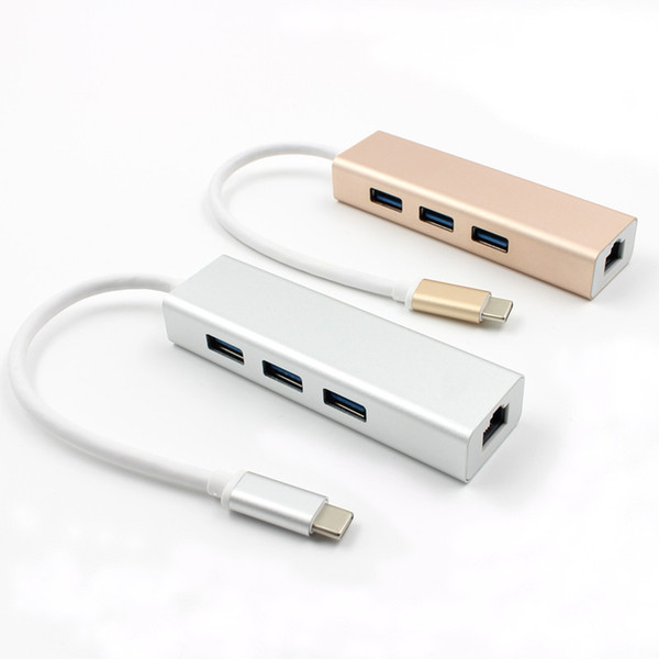 USB Type C to RJ45 Gigabit Ntewokr Adapter Cable Type-C to USB 3.0 with 3 x Hub Aluminum Alloy External 3.0 Netwoke Card