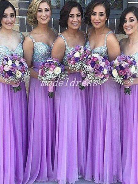 Light Purple Vestidos de dama de honor Vestidos de espagueti Longitud del piso Principales Rebordear Crystal Country Garden Vestidos de boda para la boda Vestido de dama de honor