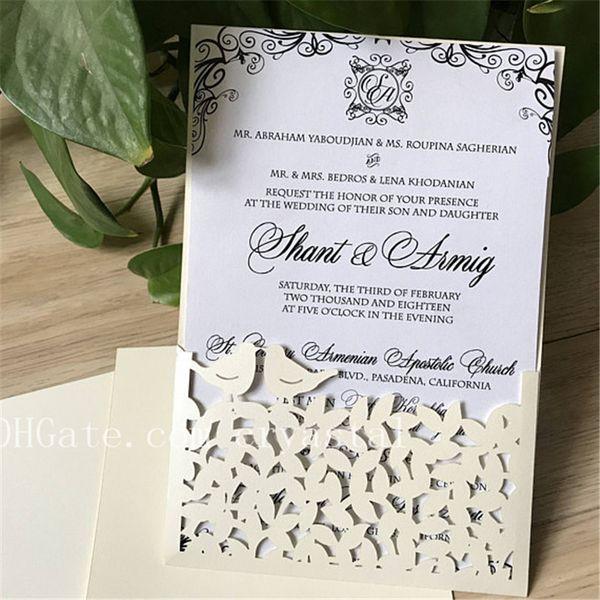 Love Bird Wedding Invitation Best Wishes On Your Wedding Pocket Wedding Invitation Cards Wedding Invitation Cream Invitation Invite Destination