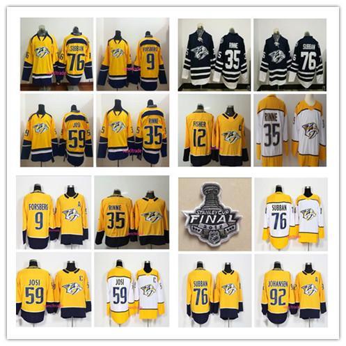 2018 Season Nashville Predators 9 Filip Forsberg 12 Mike Fisher 35 Pekka Rinne 59 Roman Josi 76 PK Subban 92 Johansen Blue Hockey Jerseys