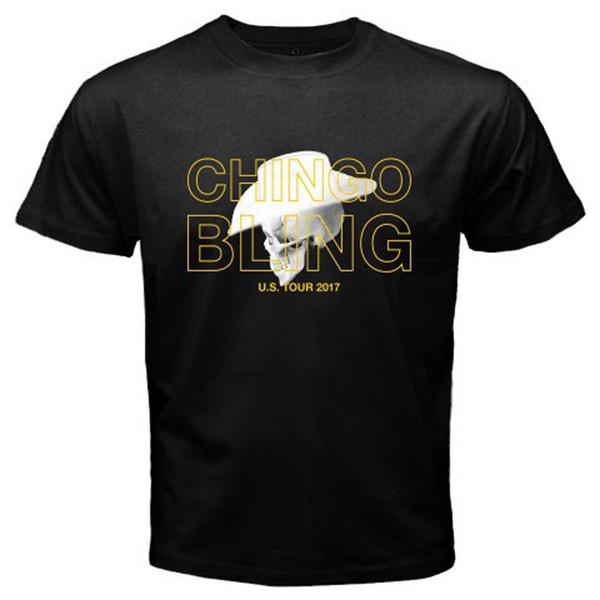 2018 Estilo Verão Novo Chingo Bling EUA Tour 2018 Rap Hip Hop Música dos homens T-Shirt Preta Tamanho S-3XL Hip-Hop Roupas Casuais