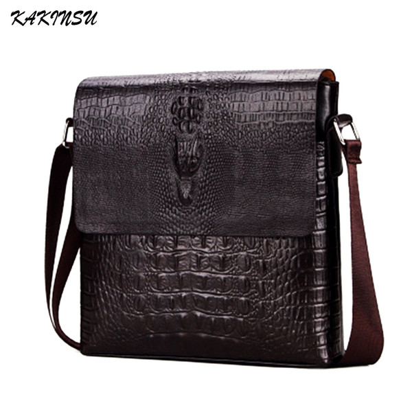 top popular Luxury Embossed Alligator Pattern Men Fashion Design High Quality Messenger Bag Male Business Shoulder Leather Travel Flap Bags 2020