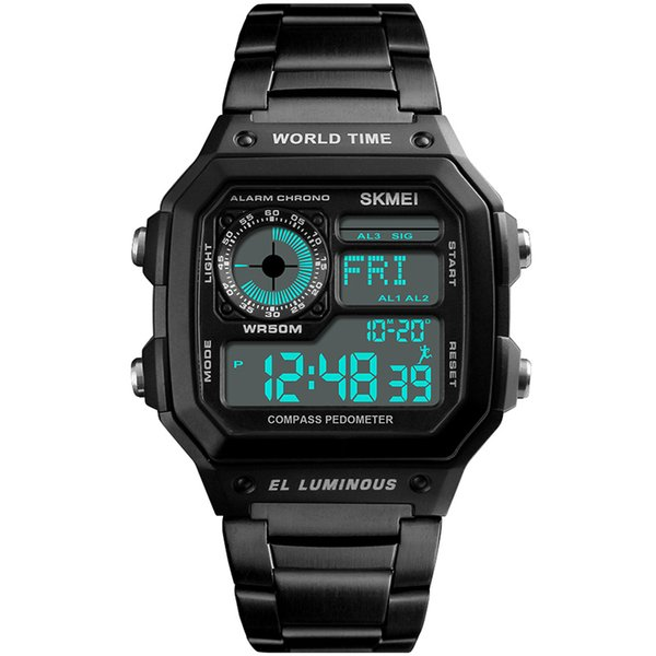 Sports Digital Watch Men Compass Calories Waterproof Chronograph Watches Luxury Stainless Wristwatch Relogio Masculino