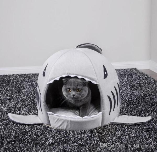 Evi Pet Köpek Sıcak Yumuşak Uyku Tulumu Yatak Köpekbalığı Köpek Kulübesi Kedi Yatak Mağarası Yastık Yastık Sevimli Yuva Mat Pet ...