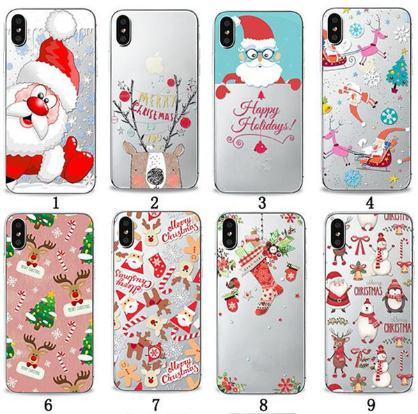 Christmas Gift Ultra thin Soft TPU Phone Case Santa Printing Painting Clear Transparent Cases Back Cover For iPhone X XS MAX XR 7 8 6 Plus