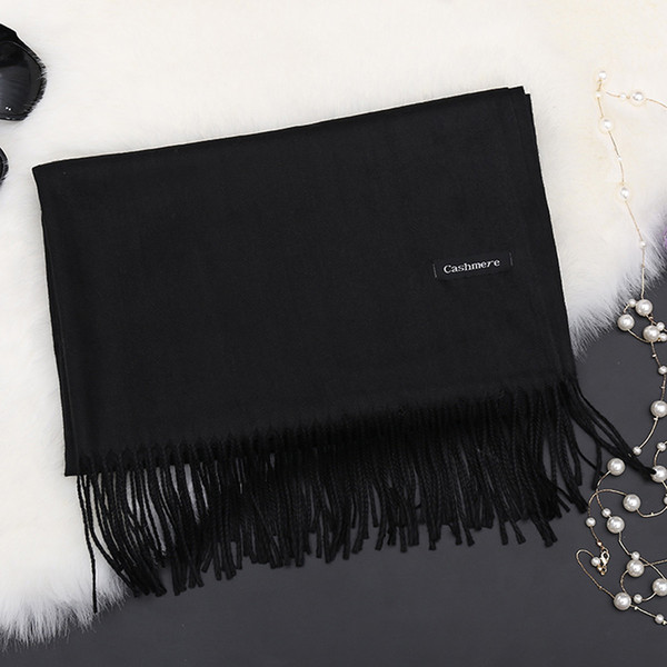 f9cad658317 LakysilkScarf Women Luxury Brand Cashmere Ladies Gril Solid Tassel  Scarves&Shawls Comfortable And Elegant Large Black Pashmina D18102905 Scarf  Dress ...